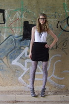 H&M shirt - H&M skirt - new look tights - Forever 21 shoes