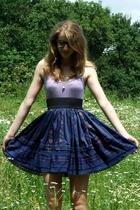 blue pop boutique skirt - purple H&M shirt - black Claires glasses