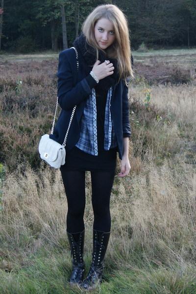 vintage blazer - Zara shirt - Bershka dress - vintage boots - H&M scarf - Zara a