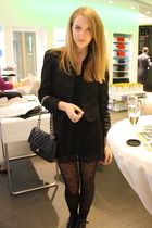 Zara jacket - Topshop dress - H&M tights - Chanel accessories - H&M shoes