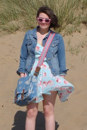 sky blue River Island dress - denim Primark jacket - Cath Kidston bag - bubble g