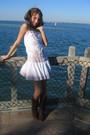 White-dress-brown-shoes