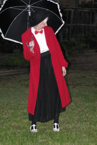 bow shoes - red coat - black skirt - white blouse - bow tie - stockings