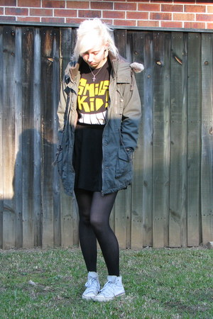 dark khaki jacket - black stockings - black skirt - white converse sneakers
