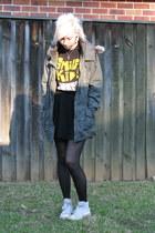 dark khaki jacket - black stockings - black skirt - white converse sneakers