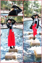 black boots - black hat - heather gray scarf - black cardigan - red skirt