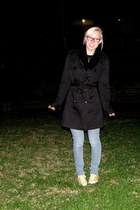 black coat - sky blue jeans - black scarf - yellow Converse sneakers