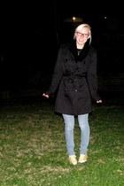 black coat - sky blue jeans - black scarf - yellow Converse sneakers