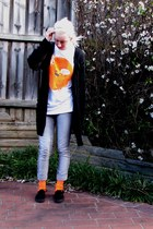 black cardigan - gray jeans - orange socks - white band t-shirt