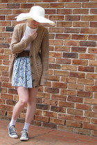 light blue floral skirt - white hat - white band t-shirt - light brown cardigan