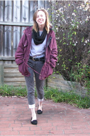 maroon coat - black rubi loafers