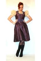 purple vintage dress - purple vintage belt - black M&S tights - black barratts b