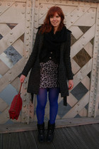 black SOliver boots - silver Ichi dress - gray Only coat - blue tights - ruby re