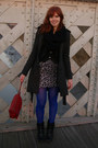 Black-soliver-boots-silver-ichi-dress-gray-only-coat-blue-tights-ruby-re