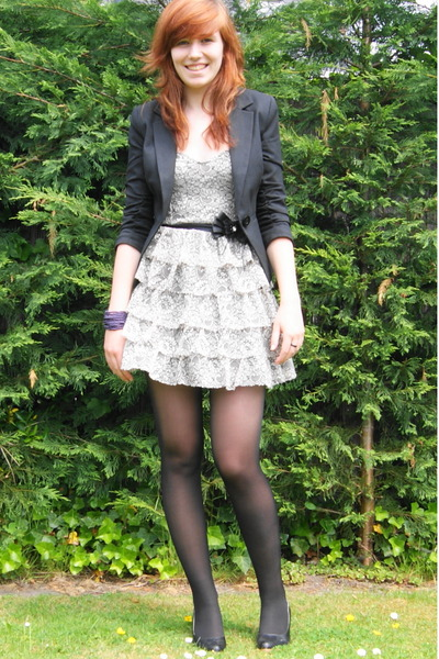 black blazer - black shoes - white Miss Selfridge dress - black tights