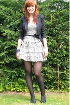 black blazer - black shoes - white Miss Selfridge dress - black tights