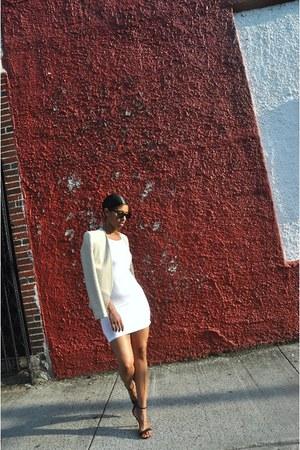 black Express shoes - white GoJane dress - beige Topshop blazer