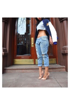 blue Zara jeans - peach Christian Louboutin shoes - blue vintage jacket