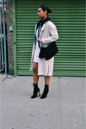 light blue Forever 21 jacket - beige H&M jacket - black Jeffrey Campbell boots