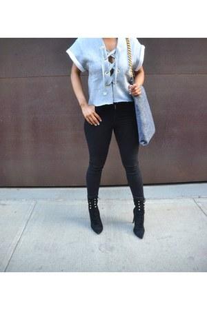 black Jeffrey Campbell boots - black Topshop jeans
