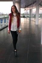 crimson Forever 21 vest - black leather boots - black Zara leggings - DIY bag