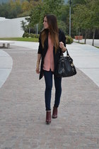 black H&M coat - crimson Forever 21 boots - black Michael Kors bag