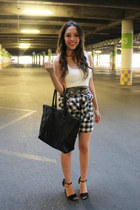 off white Zara shirt - black rj bag - black shirt as skirt Levis skirt