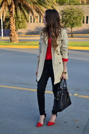 red pull&bear blouse - beige trench coat Zara coat