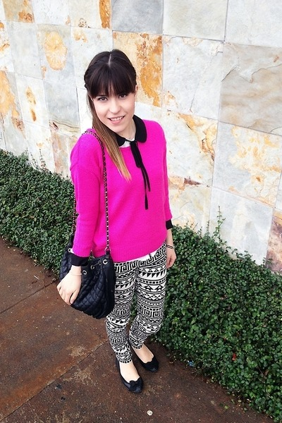 black black collar Forever 21 shirt - hot pink pink sweater Forever21 sweater