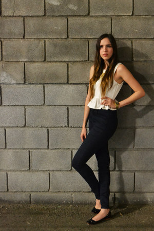 white peplum Forever 21 top - navy high-waisted H&amp;M jeans