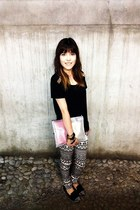 black geometric pants H&M pants - black golden studs Rampage shoes