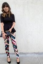 H&M blouse - vintage bag - Zara heels - H&M pants
