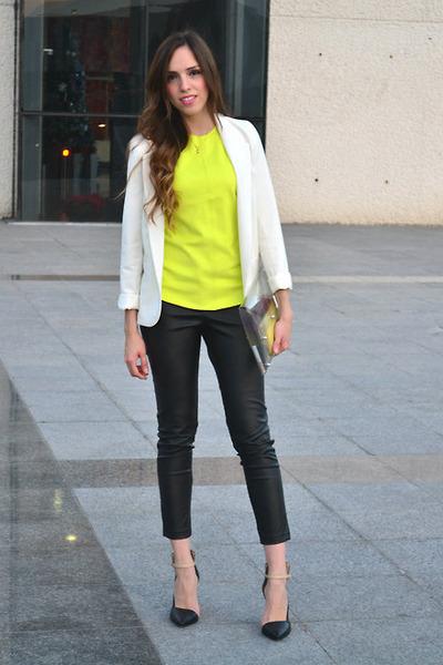 white Urban Outfitters blazer - DIY bag - black Zara heels
