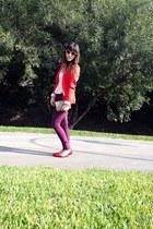 red blazer H&M blazer - Forever 21 shirt - Zara flats - Urban Outfitters glasses