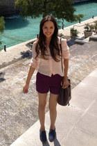light pink H&M shirt - navy Dolce Vita shoes - crimson thrifted vintage bag