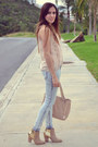 Beige-leather-aldo-boots-light-pink-leather-aldo-bag