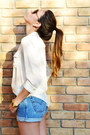 Light-blue-levis-shorts-black-emporio-armani-sunglasses
