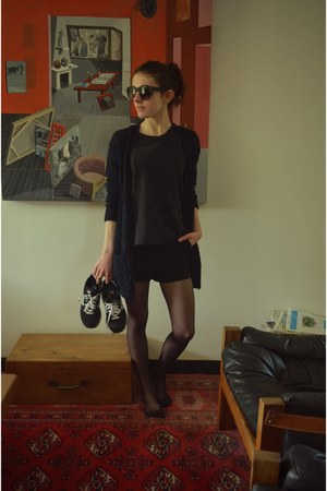 black New Balance shoes - black asos shorts - black asos sunglasses