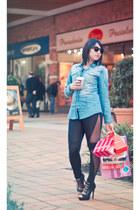 black lace Fes leggings - sky blue denin Fes blouse - black Shoedazzle wedges