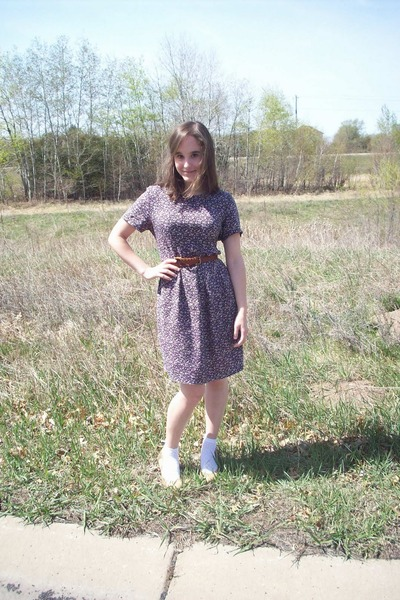 blue Goodwill dress - white Forever 21 socks - beige Target via Goodwill shoes -
