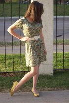 gold payless shoes - yellow ShopRuche bought at Goodwill dress - beige Goodwill