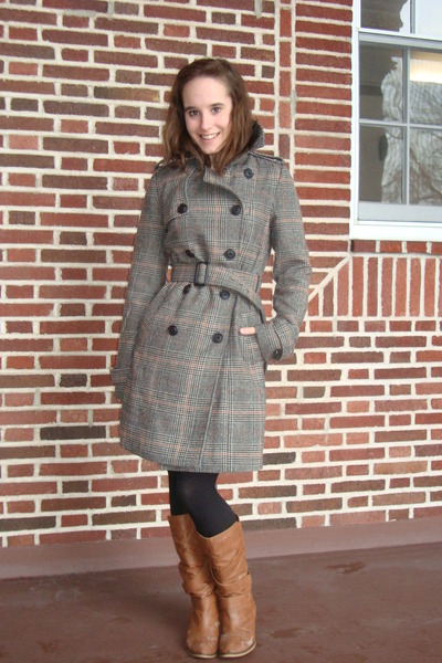 burnt orange Wet Seal boots - brown modcloth coat - black Target tights
