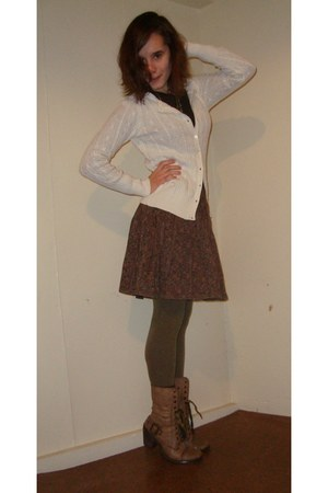 Shop Ruche boots - Old Navy shirt - H&M tights - Old Navy cardigan - Urban Outfi