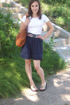 white H&M shirt - blue H&M skirt - red thrifted belt - brown H&M purse - black u