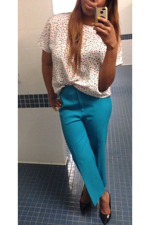 ivory confetti blouse thrifted blouse - turquoise blue pants