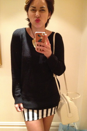 H&M skirt - Louis Vuitton bag - H&M cardigan