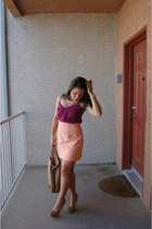 gold Michael Kors bag - nude Charlotte Russe heels - light orange XOXO skirt - g