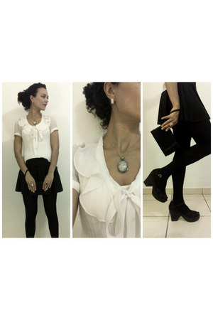 black Zara skirt - white chiffon miroa blouse - Arezzo sandals