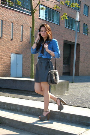 blue Koton top - heather gray Jessica Simpson heels - charcoal gray H&M skirt -