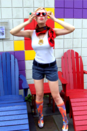 red vintage socks - white Topshop shirt - gray Helmut Lang shorts